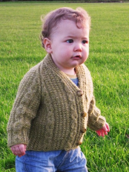Little Legacy Aran Cardigan Celtic Green