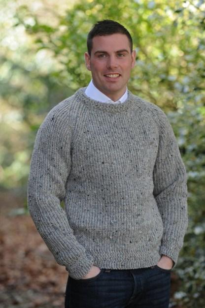 Tory Island Fishermans Sweater Granite