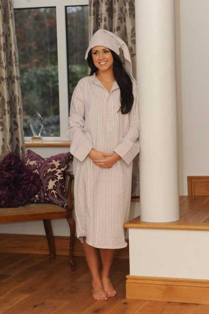 Gleneske Traditional Stripe Ladies Irish Nightshirt Cranberry Stripe