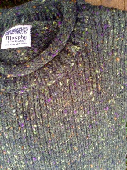 Carrick Aran Sweater Clover Green Fleck