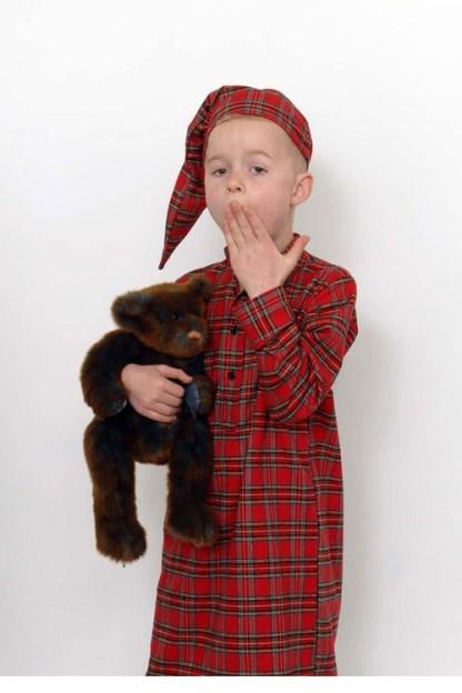 Childrens Gleneske Original Irish Nightshirt and Cap - Royal Stewart