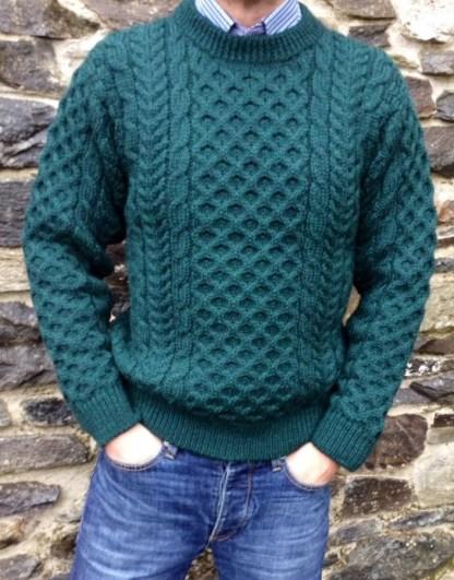 Legacy Aran Sweater Moss Green