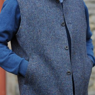 Wexford Traditional Weave Waistcoat Blue Fleck
