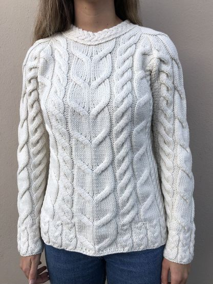 Glendowan Ladies Aran Sweater - Cream