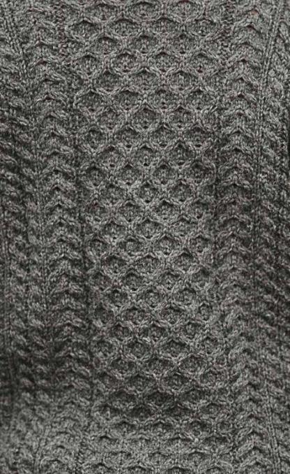 Classic Aran Sweater Charcoal Grey rear