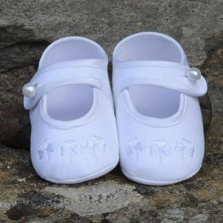 Irish Linen Christening Little Lady Shoes Shamrock