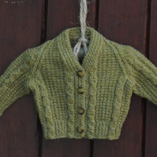 Handknit Alpacha Wool Cardigan Celtic Green
