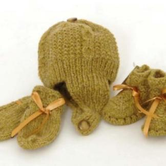 Alpaca Wool Booties Bonnet and Mitten Set
