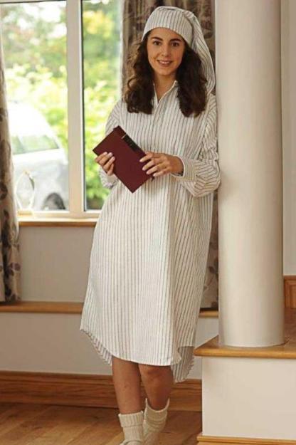 Gleneske Traditional Stripe Ladies Nightshirt Charcoal