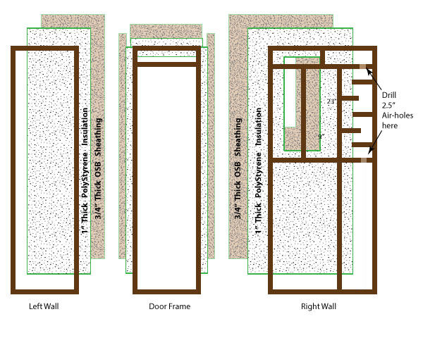 exploded diagram of vocal booth walls to show frame and materials.