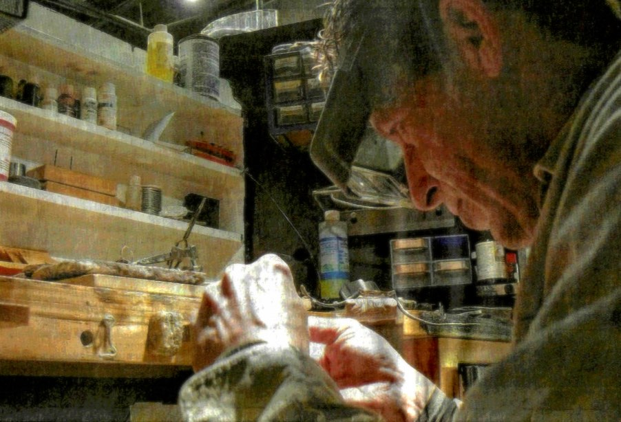 Rob Bowden, Master Goldsmith at work, as pictured on the front page of the Cape Breton Star newspaper, December 24, 2015