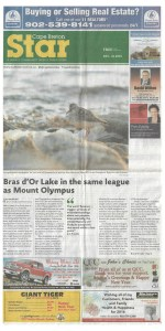 Front page of Chronicle Herald Cape Breton Star. December 31, 2015