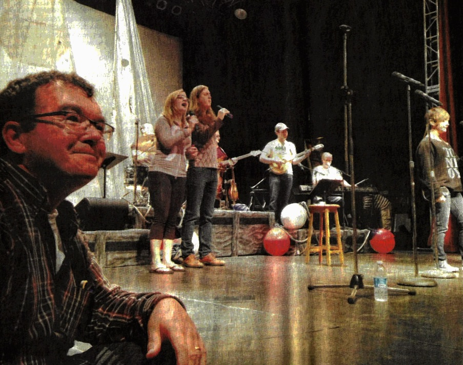 Maynard Morrison and the cast of The Cape Breton Summertime Review rehearse onstage at the Savoy Theater in Glace Bay