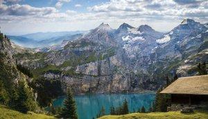 mountains, lake, trees
