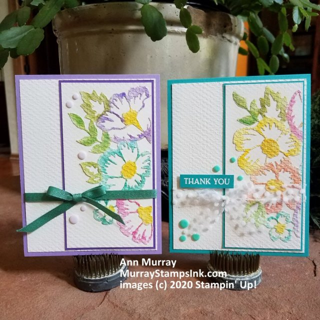 2 cards with watercolor blossoms