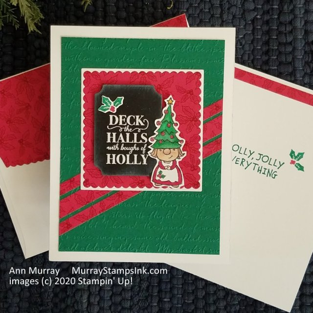 Red & green gnome Christmas card with holly and berries