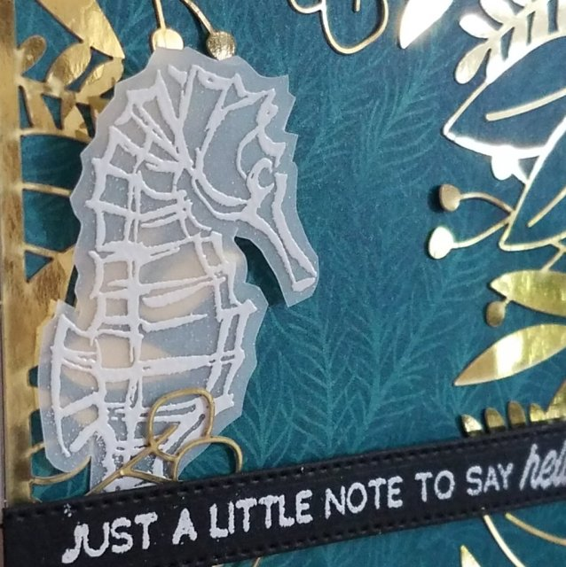 vellum seahorse with gold foliage