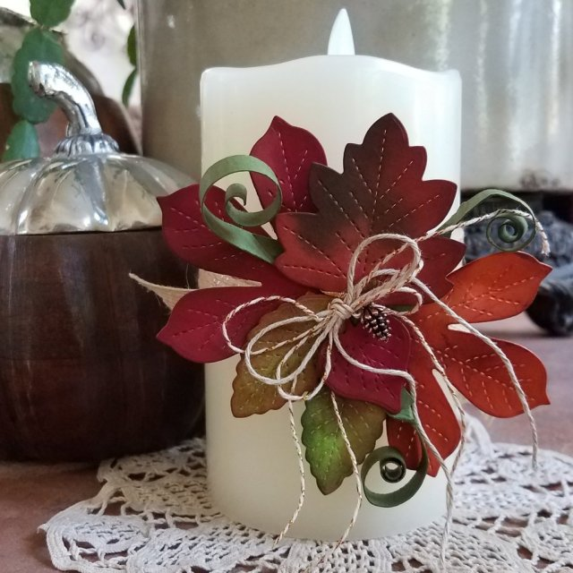 Candle band in Autumn Leaf colors using stitched leaf dies