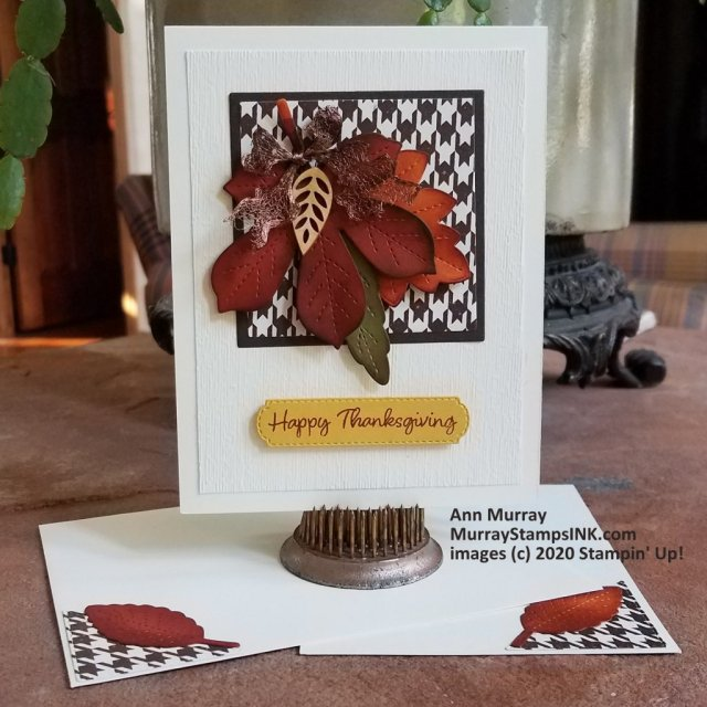 autumn leaf cluster on patterned paper square