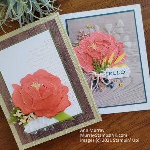 Peonies in Flirty Flamingo and layered with pieces and parts from prior projects