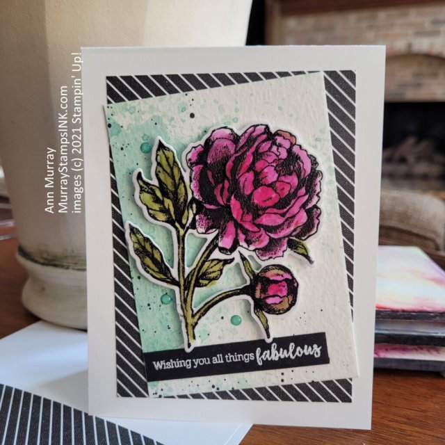 black embossed peony on vellum layered on white and colored with alcohol blends