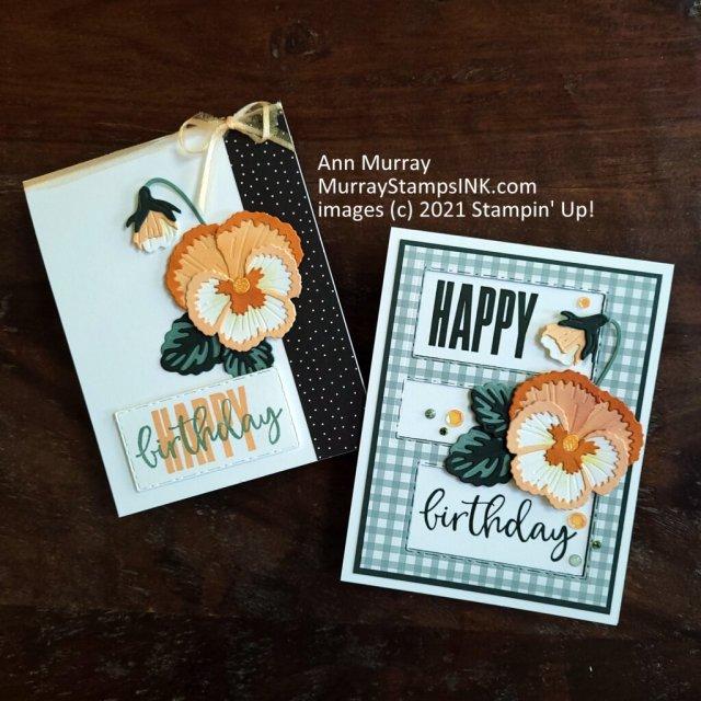 soft orange colored pansy birthday cards