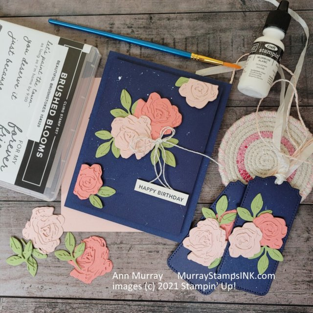 Navy with shades of pink layered flowers