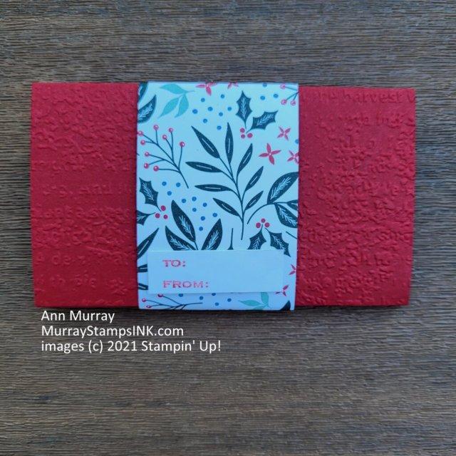 back of pop up gift card holder