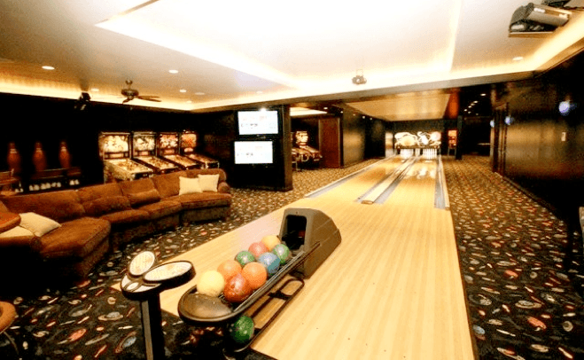 luxury residential bowling alley, bowling alley at home