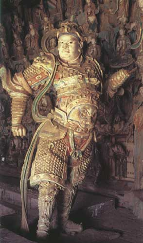 Skanda, a colored sculpture in the Shuanglin Temple, China.image.jpg.