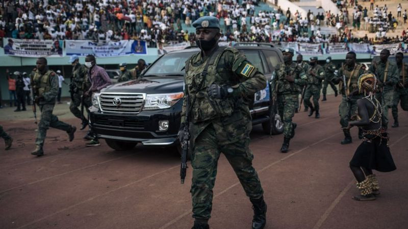 Russia and Rwanda send troops to protect Central African Republic president Touadera after former president Bozize attempts coup ahead of presidential election