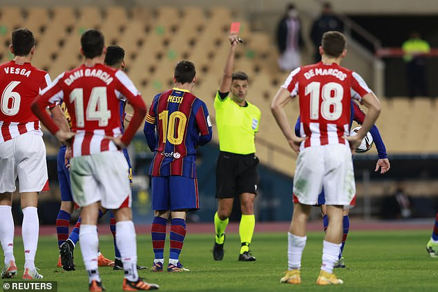 Barcelona star, Lionel Messi facing possible 12 match ban for punching opponent during Super Cup final against Athletic Bilbao