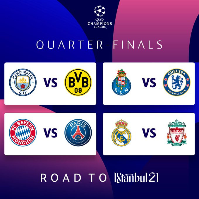 UEFA Champions League Quarter final draw revealed: Real Madrid vs Liverpool, Porto vs Chelsea