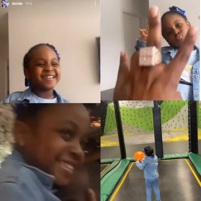 Davido hangs out with his second daughter, Hailey, in the US (video)