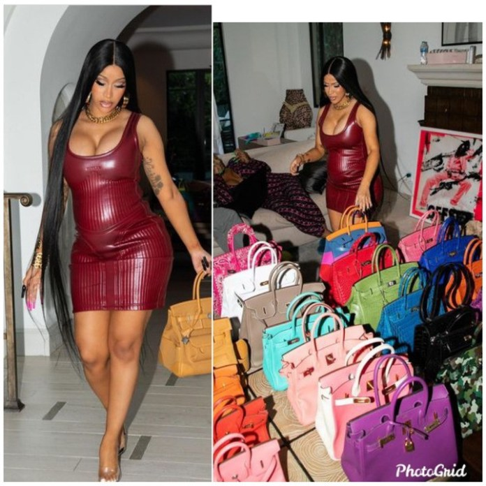 Pregnant Cardi B shows off her Birkin bag collection in new photos