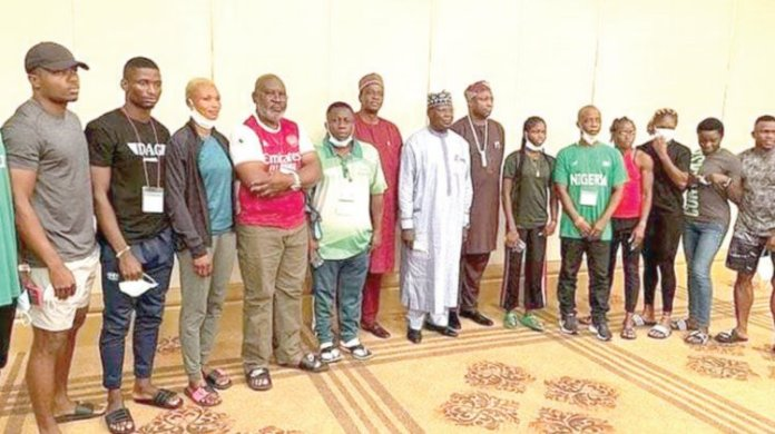 Team Nigerian contingent on arrival in Tokyo