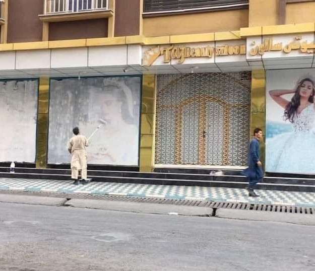 Photos of women at Kabul beauty salon painted over as Taliban takes over after forcing women out of their jobs