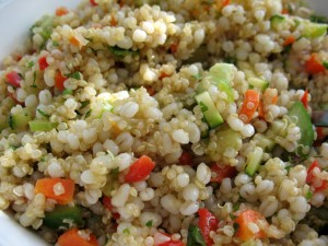 Quinoa Salad with cucumbers, peppers and other veggies