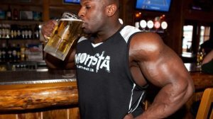 bodybuilder drinking alcohol