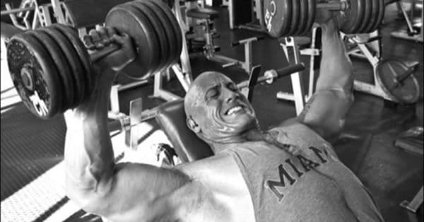 the rock bench press