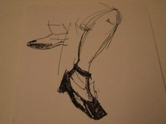 Bein, Zeichnung, Tusche,