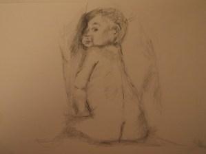 Baby, Zeichnung Belistift,