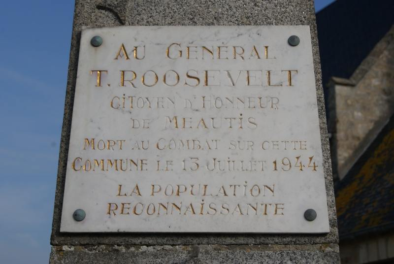 Theodore roosevelt memorial stele - Meautis - France
