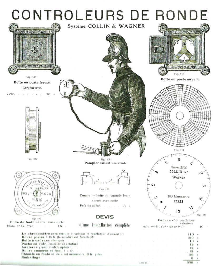 Publicité de contrôleur de ronde du système Collin adopté à Lyon en 1860 pour les deux théâtres municipaux