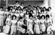1965 aprox, oficina de Segisa día de San Luis-Luis Barceló y las oficinistas estreno de uniformes