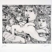 19. Tono Zancanaro, La gran Taidona, acquaforte, incisione mm197x245, foglio mm350x500, 1965