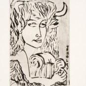 23. Tono Zancanaro, Buon Apollo, acquaforte, incisione mm113x74, foglio mm175x120, 1965
