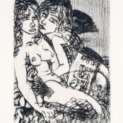 24. Tono Zancanaro, Paolo e Francesca, acquaforte, incisione mm115x80, foglio mm175x120, 1965