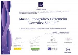 Diploma concedido al Museo por SICTED válido hasta 2016