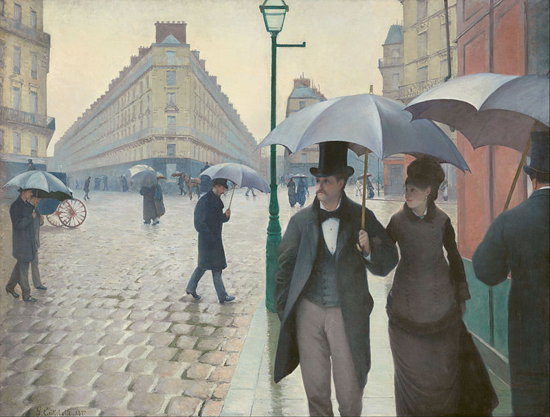 Caillebotte rain day in paris